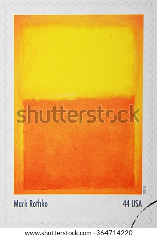 GRANADA, SPAIN - DECEMBER 1, 2015: A stamp printed in the USA shows Orange and Yellow by Mar Rothko, 2010 - stock photo