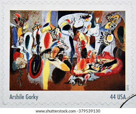 GRANADA, SPAIN - DECEMBER 1, 2015: A stamp printed in USA dedicated to Abstract Expressionists shows the work The lives is the Cock�´s Comb (1944) by Arshile Gorky, 2010 - stock photo