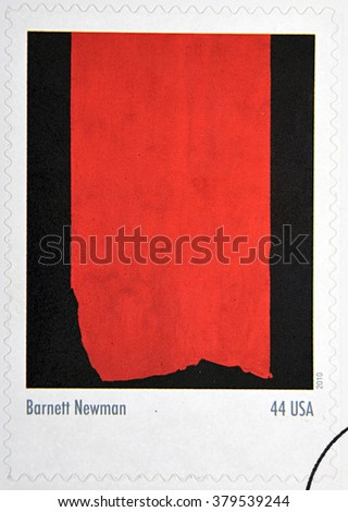 GRANADA, SPAIN - DECEMBER 1, 2015: A stamp printed in USA dedicated to Abstract Expressionists shows the work Achilles (1952) by Barnett Newman, 2010 - stock photo
