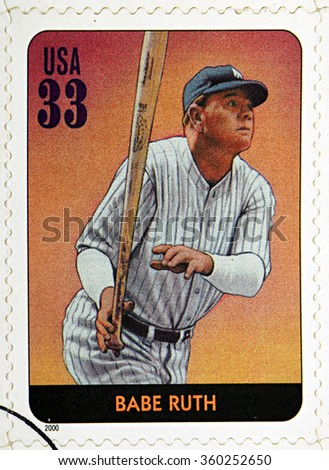 GRANADA, SPAIN - DECEMBER 1, 2015: A stamp printed in USA dedicated to Legends of Baseball shows Babe Ruth, 2000 - stock photo