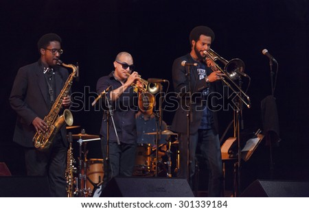 GRANADA. SPAIN - JULY 22, 2015: Dee Dee Bridgewate and Irvin Mayfield, jr. with the new Orleans 7, at 28 International Jazz Festival of Almunecar, Spain.