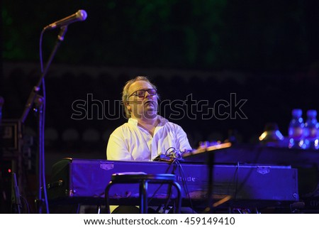 GRANADA, SPAIN - JULY 20, 2016: Erik Truffaz Quartet tat 29 International Festival Jazz en la Costa, Almunecar, Spain. Benoit Corboz, piano.