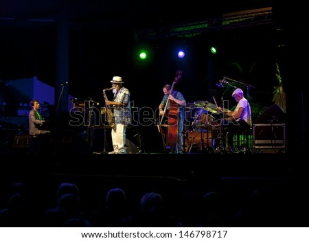 GRANADA, SPAIN - JULY 20: Pharoah Sanders Quartet, P. Sanders, O. Hayhurst (bass), W. Henderson (piano), G. Calderazzo (drums), at the XXVI  Jazz Festival on July 20, 2013 in Almunecar, Spain