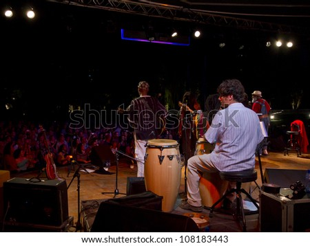 GRANADA, SPAIN - JULY 17:  Playing for Change at the XXV Jazz Festival of Almunecar on july 17, 2012 in Granada, Spain