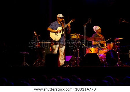 GRANADA, SPAIN - JULY 18:  Ra�ºl Mid�³n, Brannen Temple (drummer),  at the XXV Jazz Festival of Almunecar on july 18, 2012 in Granada, Spain
