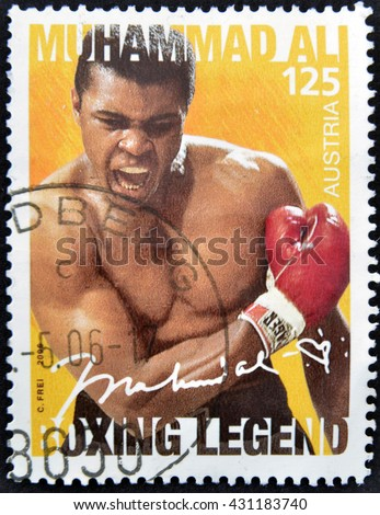 GRANADA, SPAIN - JUNE 30, 2006: A stamp printed in austria shows Muhammad Ali, 2006