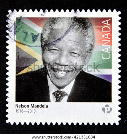 GRANADA, SPAIN - MAY 15, 2016: A stamp printed in Canada shows Nelson Mandela, 2015 - stock photo