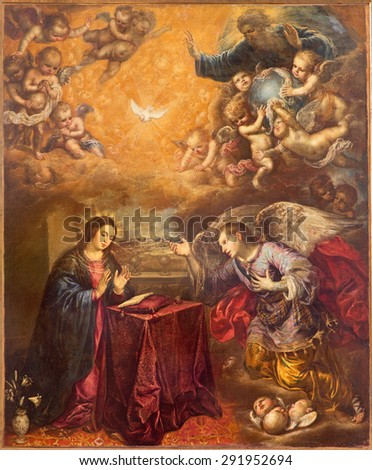 GRANADA, SPAIN - MAY 29, 2015: The baroque paint of Annunication in Iglesia de San Anton by unknown artist. - stock photo
