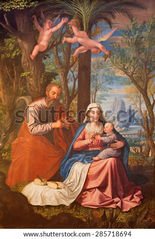 GRANADA, SPAIN - MAY 31, 2015: The Holy Family painting in main nave of church Monasterio de la Cartuja  by Fray Juan Sanchez Cotan (1560 - 1627). - stock photo