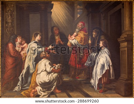GRANADA, SPAIN - MAY 31, 2015: The Presentation of Christ in the Temple painting by Fray Juan Sanchez Cotan (1560 - 1627)  in church Monasterio de la Cartuja.