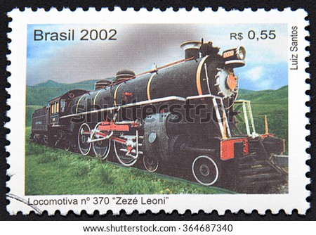 GRANADA, SPAIN -NOVEMBER 30, 2015: A stamp printed in Brasil shows a vintage train, 2002 - stock photo
