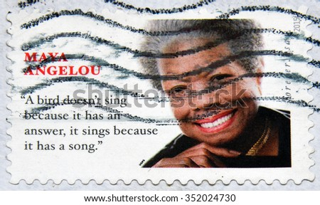 GRANADA, SPAIN - NOVEMBER 30, 2015: A stamp printed in USA shows Maya Angelou, 2015 - stock photo