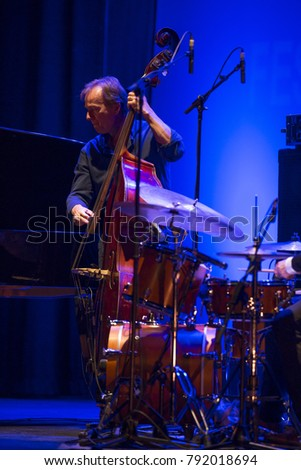 GRANADA, SPAIN - NOVEMBER 4, 2017: Jacky Terrasson Trío at the 38 International Jazz Festival of Granada. Thomas Bramerie, bass.