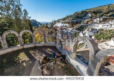 GRANADA, SPAIN - NOVEMBER 29, 2015: Sacromonte in Andalusia. - stock photo