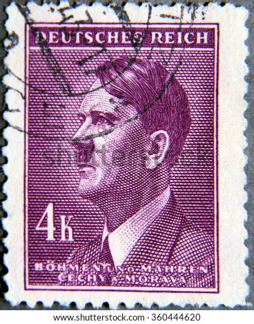 GRANADA, SPAIN - NOVEMBER 15, 2015:   stamp printed in the Protectorate Czech and Morava shows portrait of Adolf Hitler, circa 1942 - stock photo