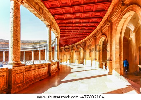 GRANADA,SPAIN - OCTOBER 17,2012 : Courtyard of the Palacio de Carlos V in La Alhambra, Granada, Spain.