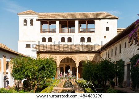 GRANADA, SPAIN - September 6, 2016: Generalife Palace and Gardens.