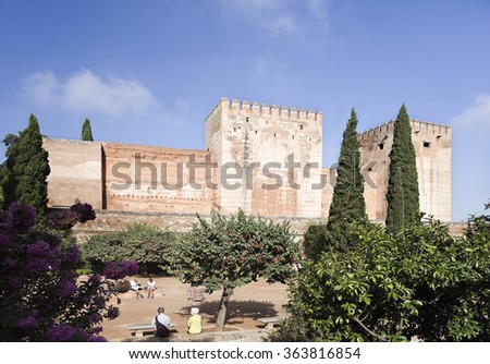 GRANADA, SPAIN - SEPTEMBER 8 2015: View of the Alcazaba with the Broken Tower (center) and the Tower of Homage (right) in The Alhambra complex, on September 8, 2015, in Granada, Spain - stock photo