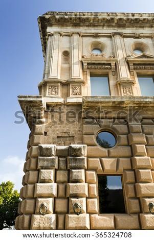 GRANADA, SPAIN - SEPTEMBER 8 2015: View of the Palace of Charles V, in The Alhambra, on September 8, 2015, in Granada, Spain - stock photo
