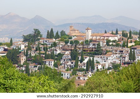 Granada - The look to The Albayzin district and Saint Nicholas church from Generalife gardens of Alhambra palace. - stock photo