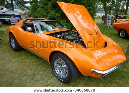 GRANBY QUEBEC CANADA 07 29 2013: Chevrolet Corvette (C2)for Second Generation), also known as the Corvette Sting Ray, is a sports car that was produced by Chevrolet for the 1963 to 1967 model years - stock photo