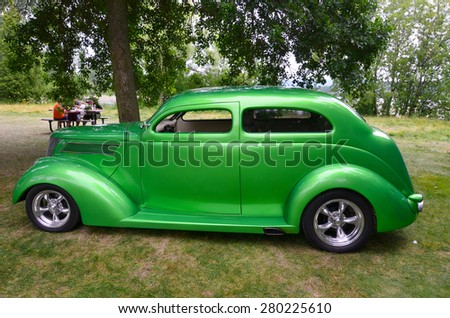 GRANBY QUEBEC CANADA JULY 29 2013: 1937 Ford Sedan line of cars was updated in 1937 with one major change  the introduction of an entry-level 136 CID (2.2 L) V8 in addition to the popular  flathead V8