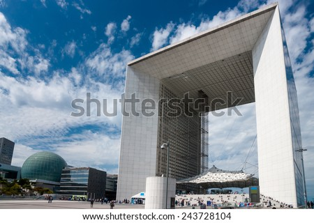 Grand Arch (La Grande Arche de la Defense) on July in Paris, France. Grand Arch is the central and iconic building of La Defense. - stock photo