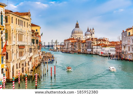 Grand Canal and Basilica Santa Maria della Salute - stock photo