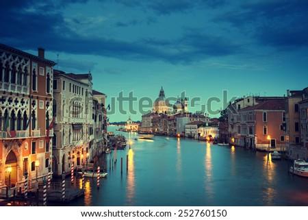 Grand Canal and Basilica Santa Maria della Salute, Venice, Italy - stock photo