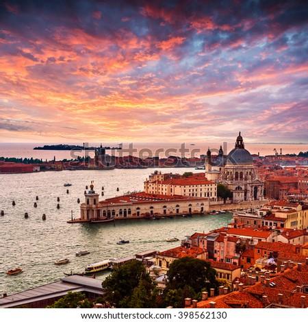 Grand Canal and Basilica Santa Maria della Salute .Venice.Italy - stock photo