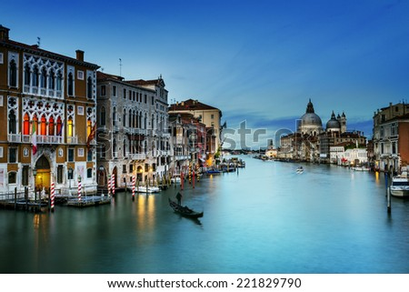 Grand Canal and Basilica Santa Maria della Salute, Venice, Italy and sunny day  - stock photo