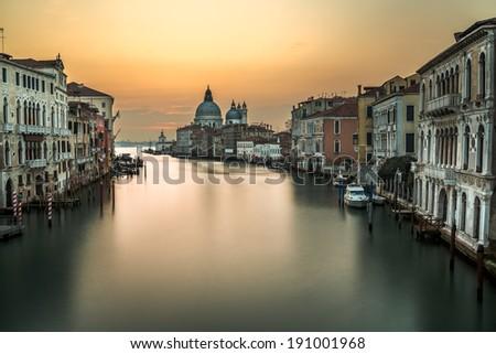 Grand Canal and Santa Maria della Salute Church from Accademia Bridge Venice, Italy - stock photo