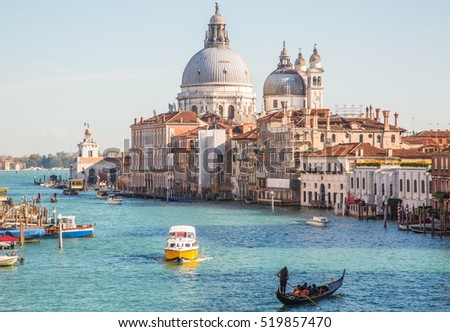 Grand Canal and Santa Maria della Salute in Venice Italy.
