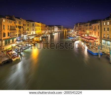 Grand Canal at night from Rialto bridge in Venice, Italy - stock photo