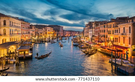 Grand Canal at night with a gondola, Venice, Italy