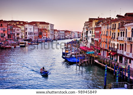 Grand Canal at sunrise in Venice, Italy