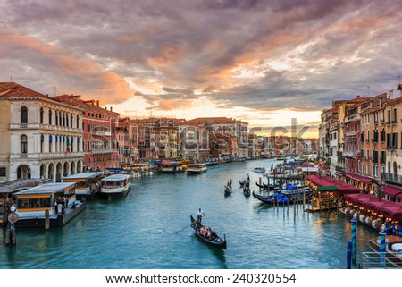 Grand Canal at sunset from Rialto bridge, Venice Italy - stock photo