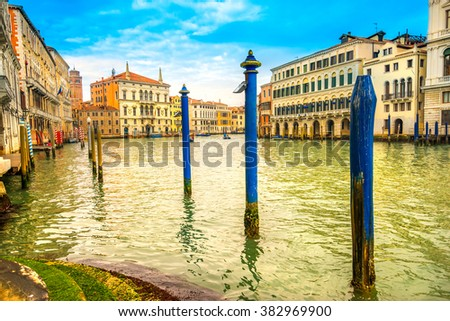 Grand Canal at sunset, Venice, Italy  - stock photo