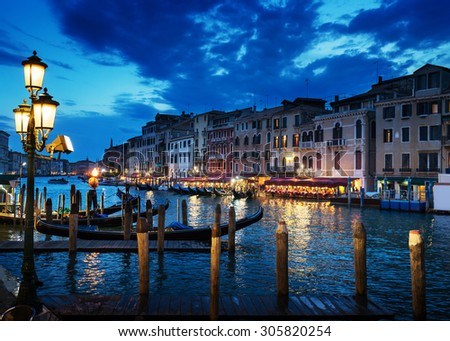 Grand Canal in sunset time, Venice, Italy - stock photo