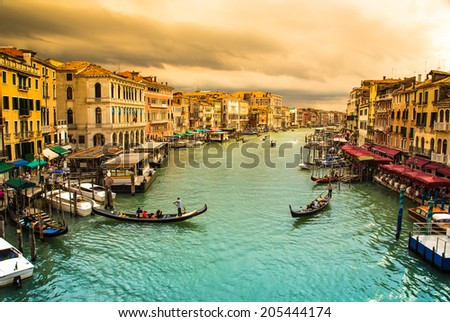 Grand Canal in Venice, Italy, Europe.