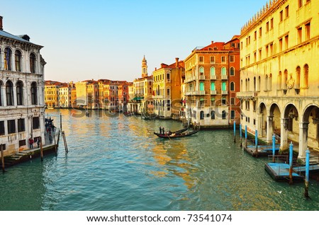 Grand Canal in Venice, Italy. Evening light - stock photo
