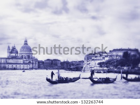 Grand Canal in Venice, Italy. Photo in old color image style. - stock photo