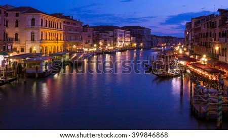 Grand canal of Venice at night