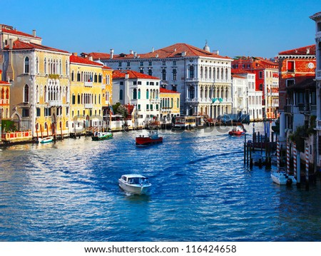 Grand canal of Venice city with boats at sunny day. Italy - stock photo