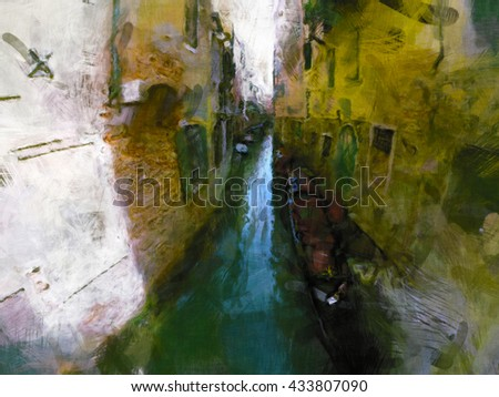 grand canal venice, impressionism painting, beautiful romantic view, italy mood, venice canals, thin canal in venice with gondola - stock photo
