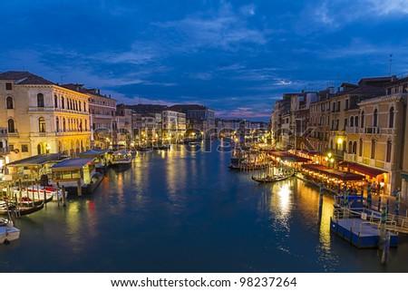 Grand canal,view from Rialto bridge in Venice, Italy - stock photo