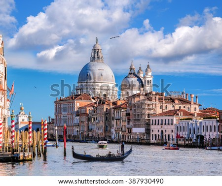 Grand Canal with gondola in Venice, Italy - stock photo