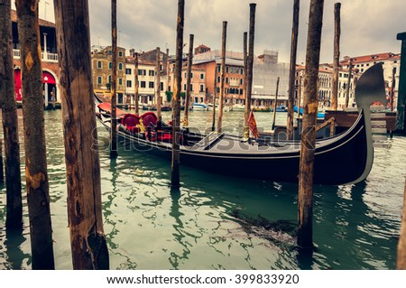 Grand Canal with gondola in Venice. Italy - stock photo