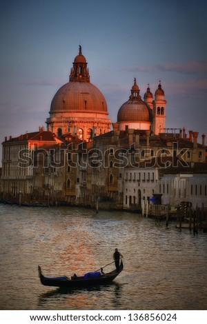 Grand Canal With Gondola - Venice - stock photo