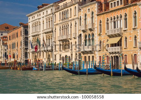 Grand Canal with gondolas (Venice, Italy)